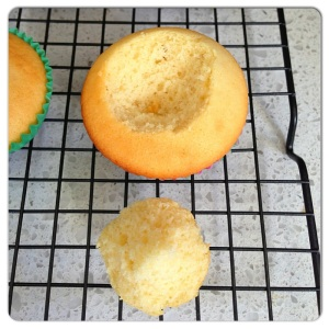 Cut disc out of cupcake